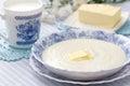 Semolina porridge with fresh butter and milk Royalty Free Stock Photo