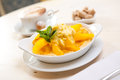 Semolina porridge with mango Royalty Free Stock Photo