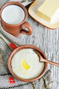 Semolina porridge with melted butter Stock Photography