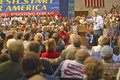 Senator john kerry addresses audience of supporters at a southern ohio high school gymnasium in Stock Photos