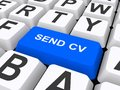 Send cv computer keyboard with on blue key Royalty Free Stock Image