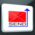 Send Mail Button Showing Online Correspondence Stock Photography