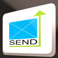 Send Mail Button Shows Online Communication Stock Photography