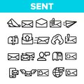 Send Message Linear Vector Thin Icons Set