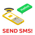 Send SMS - isometric phone with chat bubble Royalty Free Stock Photo