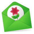 Sending flower love concept in envelope Stock Image