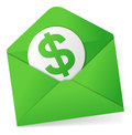 Sending money in green envelope Stock Photo