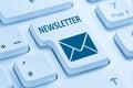 Sending newsletter internet business marketing campaign blue com Royalty Free Stock Photo