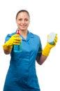 Senhora de limpeza nova bonita isolada no branco Fotos de Stock