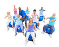 Senior adults exercising yoga with the instructor group of multi ethnic Royalty Free Stock Image