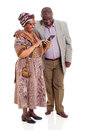 Senior african couple tablet happy using computer on white background Stock Images