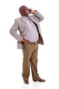 Senior african man talking cell phone cheerful on isolated on white background Stock Photo