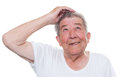 Senior with alzheimer forget everything and hold his head Royalty Free Stock Photography