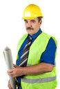 Senior architect man holding blueprints Royalty Free Stock Photo