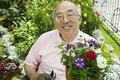 Senior Asian Man Gardening Royalty Free Stock Images