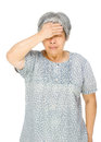Senior asian woman feel sick isolated on white Stock Photos