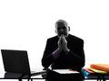 Senior attentive business man silhouette one caucasian white background Stock Photo