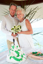 Senior beach wedding ceremony with cake in foreground bride and groom smiling to camera Royalty Free Stock Photography