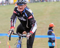 Senior Bicycle Racer Competes at Cycloross Event Royalty Free Stock Image