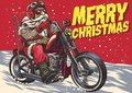 Senior Biker wear santa claus costume and riding a chopper motor Royalty Free Stock Photo
