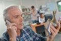 Senior boss on phone Royalty Free Stock Photo
