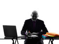 Senior business man busy working writing silhouette one caucasian white background Royalty Free Stock Images