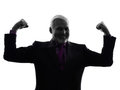 Senior business man flexing muscles strong silhouette one caucasian white background Royalty Free Stock Photography