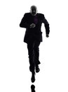 Senior business man running silhouette one caucasian white background Royalty Free Stock Photos