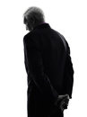 Senior business man sad rear view silhouette one caucasian white background Royalty Free Stock Images