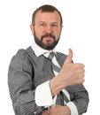 Senior business man showing his thumb up against white background Royalty Free Stock Photos