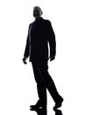 Senior business man silhouette one caucasian white background Stock Photography
