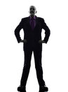 Senior business man silhouette one caucasian white background Royalty Free Stock Images