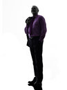 Senior business man standing looking up silhouette one caucasian white background Stock Photography