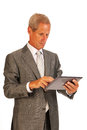 Senior business man with tablet Royalty Free Stock Image