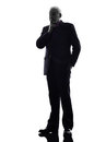 Senior business man thinking silhouette one caucasian white background Stock Photos