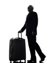 Senior business man traveler traveling silhouette one caucasian white background Royalty Free Stock Image