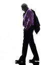 Senior business man walking sadness silhouette one caucasian white background Stock Photo
