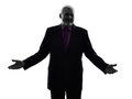 Senior business man welcoming silhouette one caucasian white background Stock Image