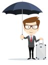 Senior businessman with briefcase and umbrella stock vector illustration Stock Image