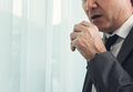 Senior businessman in grey suit coughing. Illness, disease, alle Royalty Free Stock Photo