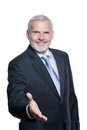 Senior businessman portrait welcoming handshake Royalty Free Stock Photo