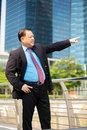 Senior businessman in suit pointing at a direction Royalty Free Stock Photo