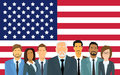 Senior Businessmen Group of Business People Team Over United States American Flag Royalty Free Stock Photo