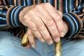 Senior and cane Stock Photo