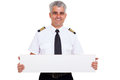 Senior captain presenting close up portrait of blank white board Stock Photography