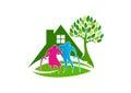 Senior care logo, elder people symbol icon, healthy nursing home concept design Royalty Free Stock Photo