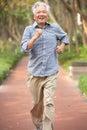 Senior Chinese Man Jogging In Park Royalty Free Stock Image
