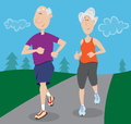 Senior citizens jogging citizen couple together outdoors Stock Photos