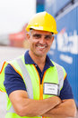 Senior container worker shipping company in depot Royalty Free Stock Photography