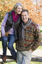 Senior couple on autumn walk Royalty Free Stock Images